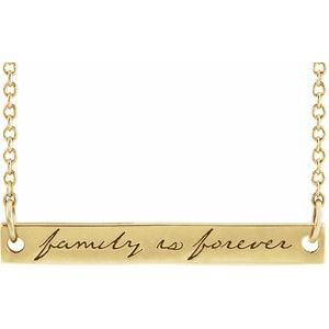 "14K Yellow Family is Forever Bar 18"" Necklace"