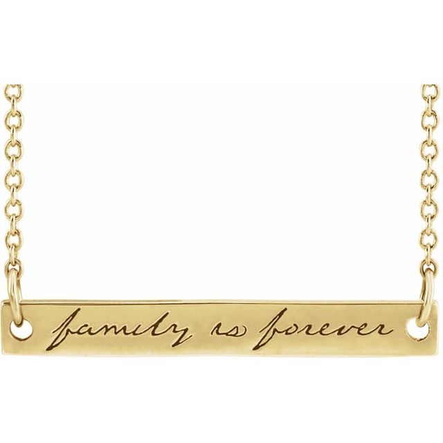 14K Yellow Family is Forever Bar 18
