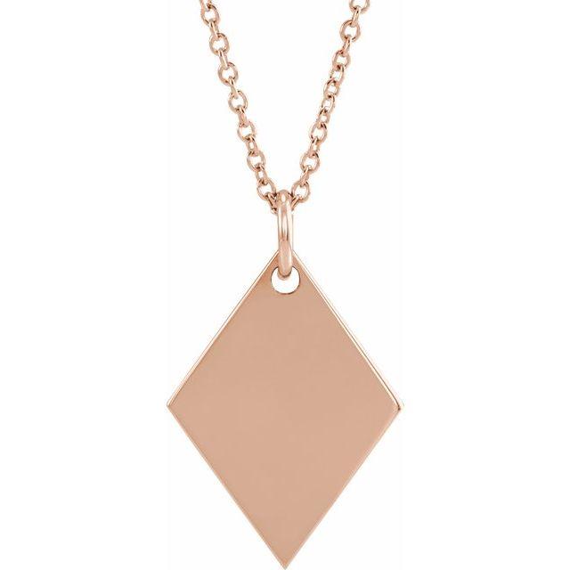 14K Rose Engravable Diamond-Shaped 16-18
