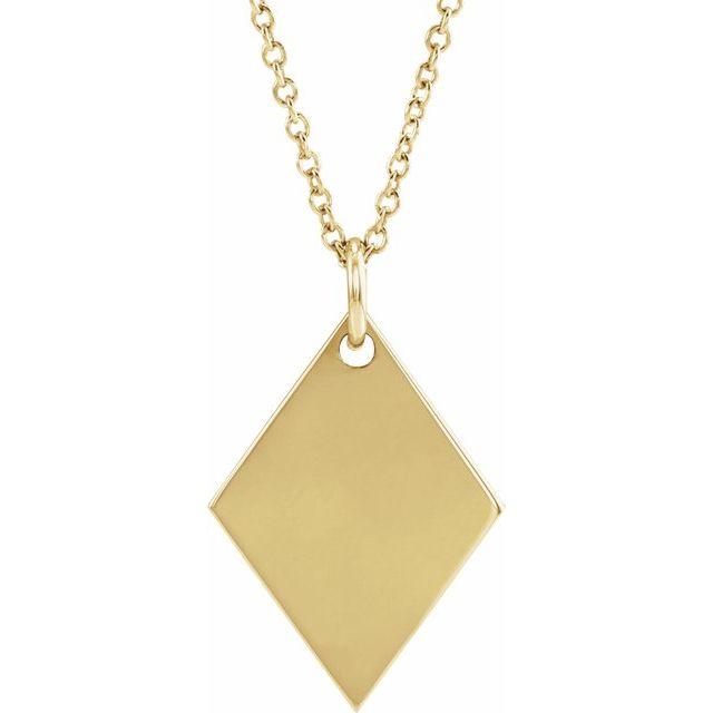 14K Yellow Engravable Diamond-Shaped 16-18
