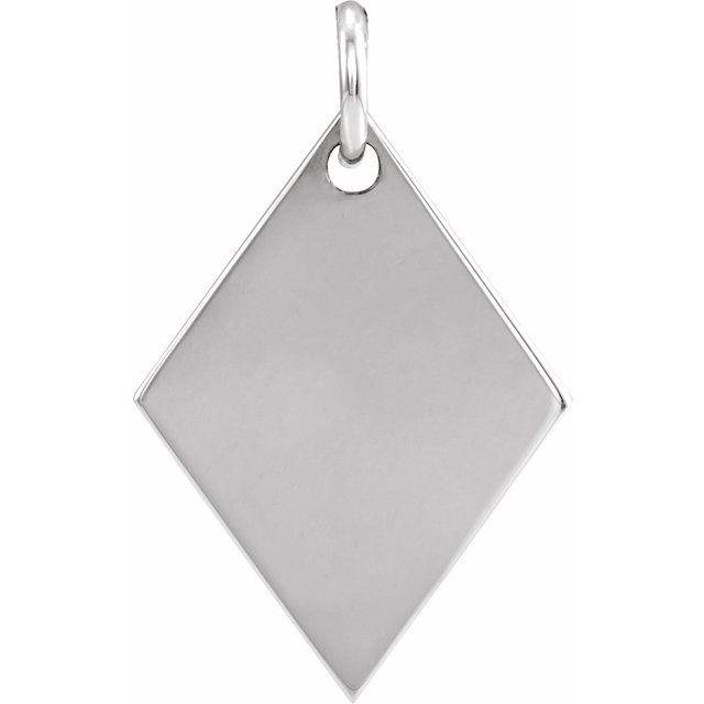 Sterling Silver 19.84x12.95 mm Engravable Diamond-Shaped Pendant