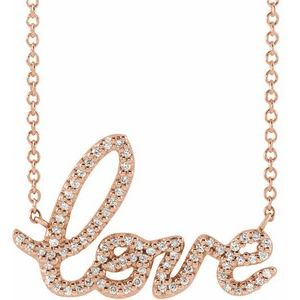 "14K Rose 1/6 CTW Diamond Love 18"" Necklace"