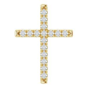 14K Yellow 1/2 CTW Diamond French-Set Cross Pendant
