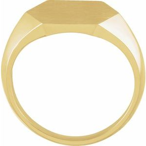 14K Yellow 14 mm Hexagon Signet Ring