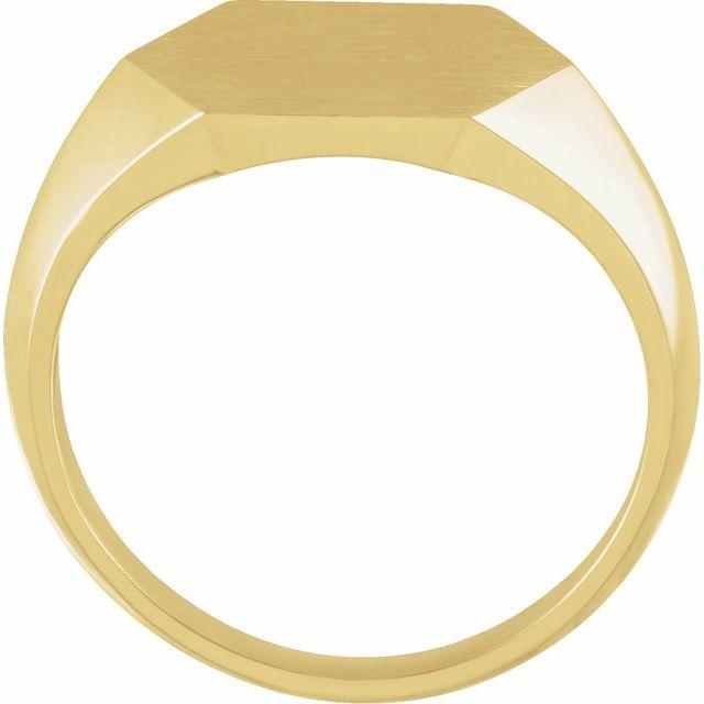 14K Yellow 14 mm Hexagon Signet Ring
