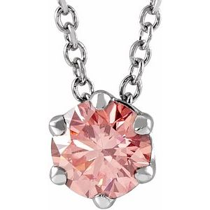 "14K White 3/8 CT Pink Lab-Grown Diamond Solitaire 16-18"" Necklace"