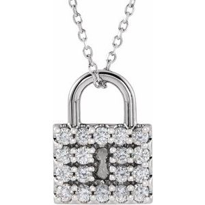 "14K White 1/2 CTW Diamond Lock 16-18"" Necklace"