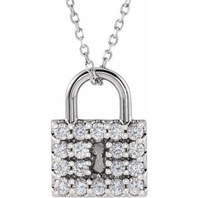 14K White 1/2 CTW Natural Diamond Lock 16-18