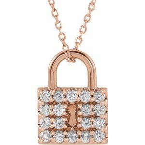 "14K Rose 1/2 CTW Diamond Lock 16-18"" Necklace"