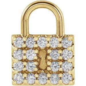 14K Yellow 1/2 CTW Diamond Lock Pendant