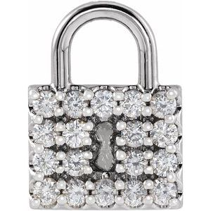14K White 1/2 CTW Diamond Lock Pendant