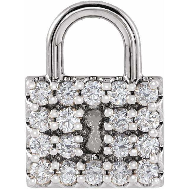 14K White 1/2 CTW Diamond Lock Pendant