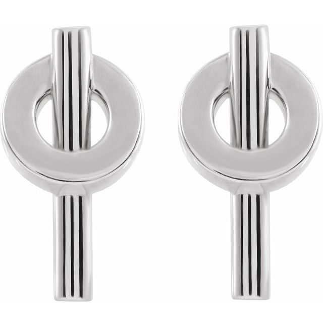 14K White Negative Space Circle Earrings