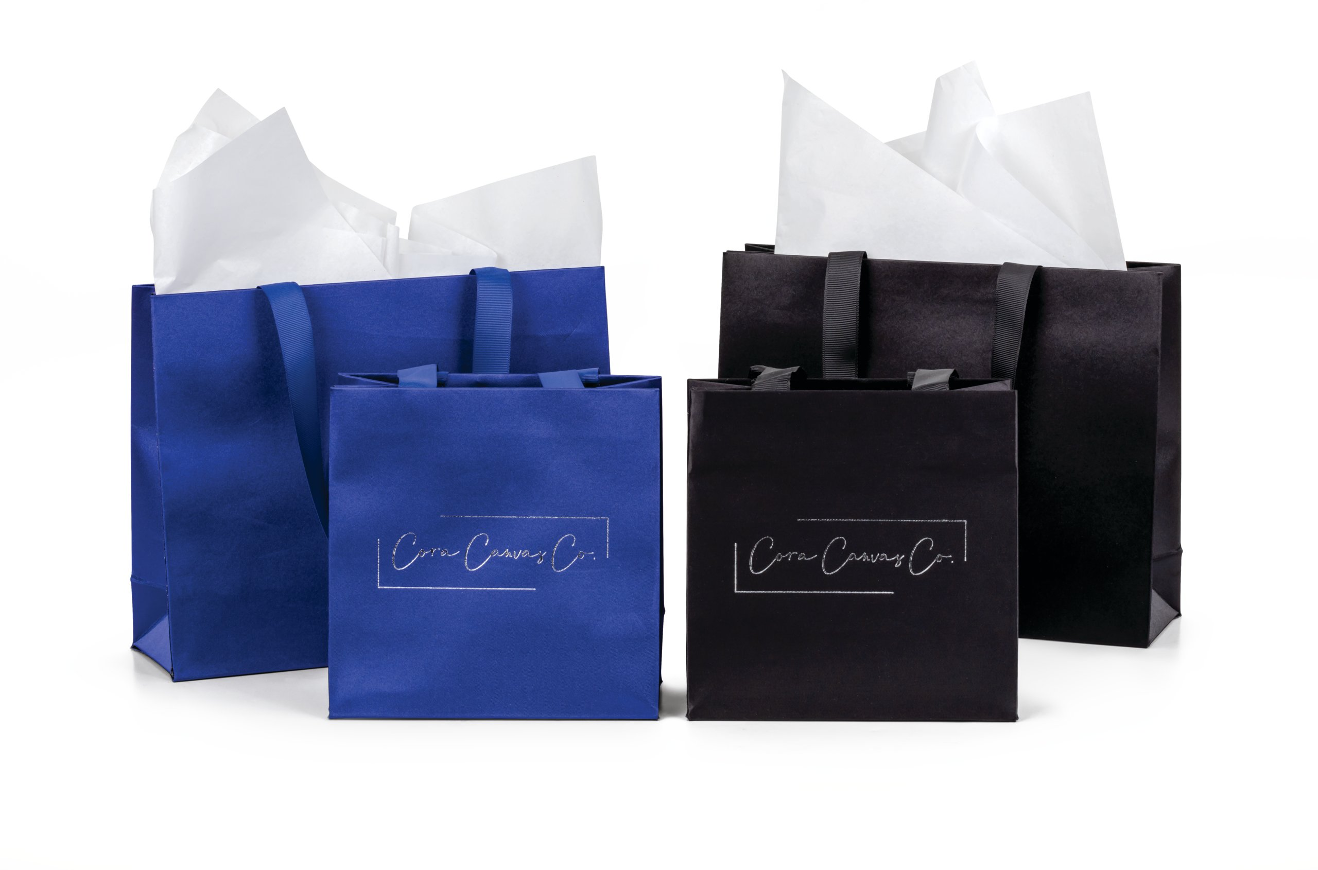 Ribbon Handle Satin Paper Totes