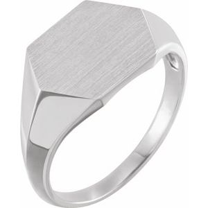 Sterling Silver 14 mm Hexagon Signet Ring