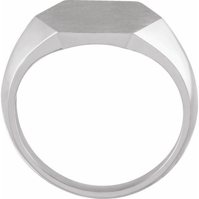 Sterling Silver 14 mm Hexagon Signet Ring