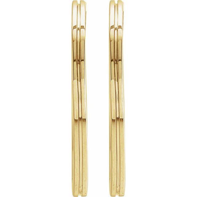 14K Yellow 20 mm  Grooved Hoop Earrings