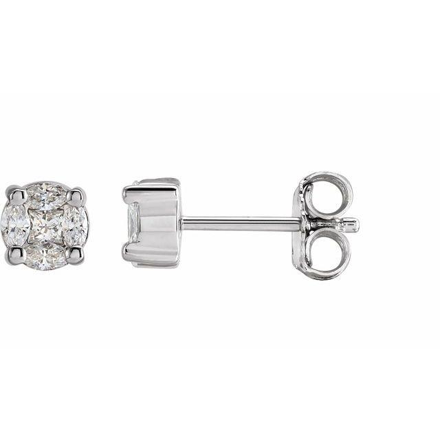 14K White 1/3 CTW Diamond Cluster Earrings