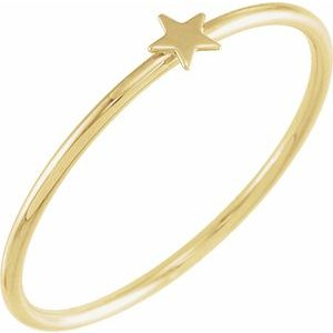 14K Yellow Stackable Star Ring Size 5