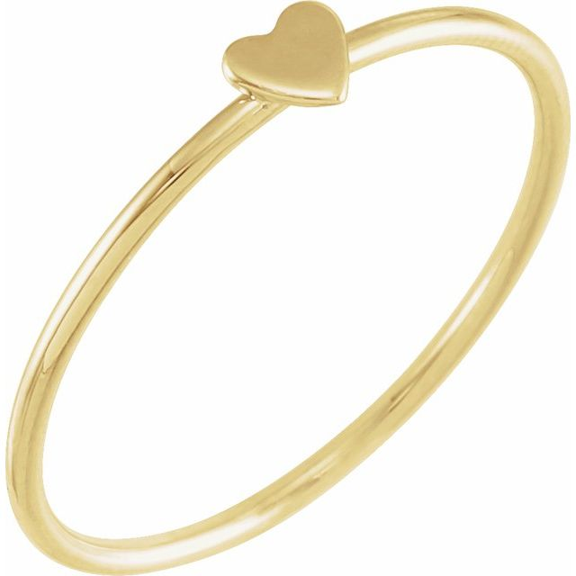 14K Yellow Stackable Heart Ring Size 8