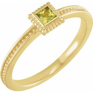 14K Yellow Peridot Stackable Family Ring