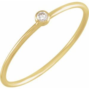 14K Yellow .03 CT Diamond Stackable Ring Size 5