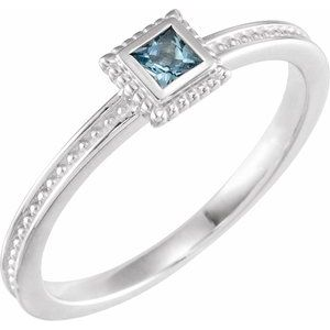 Sterling Silver Aquamarine Stackable Family Ring