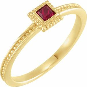 14K Yellow Ruby Stackable Family Ring