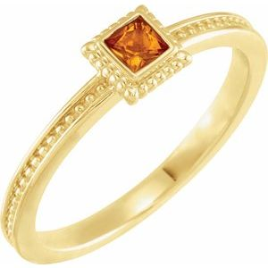 14K Yellow Citrine Stackable Family Ring