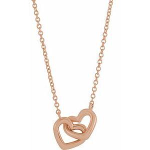 "14K Rose Interlocking Heart 18"" Necklace"