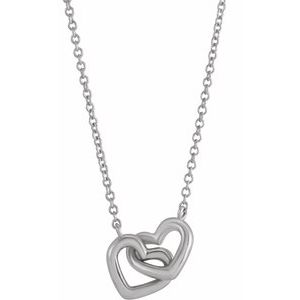 "Sterling Silver Interlocking Heart 18"" Necklace"
