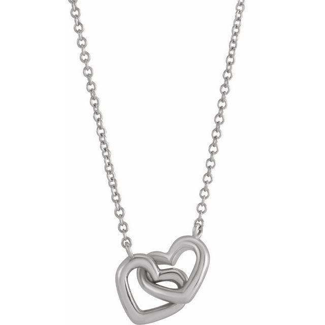 Sterling Silver Interlocking Heart 16