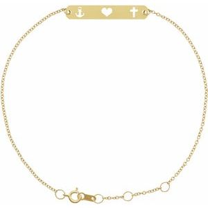 "14K Yellow Faith, Love, Hope Bar 6 1/2-7 1/2"" Bracelet"