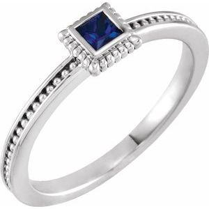 14K White Blue Sapphire Stackable Family Ring