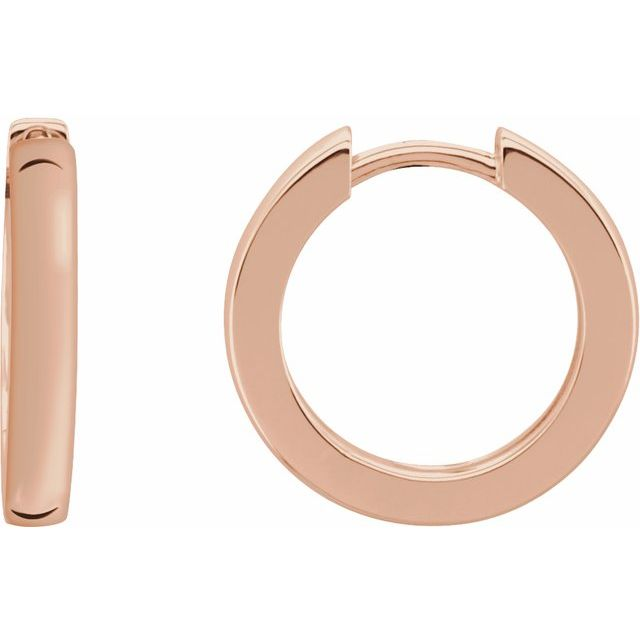 14K Rose 18 mm Hinged Hoop Earrings