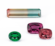 Notable Gems™ | Four stones in green, pink, orange, and yellow