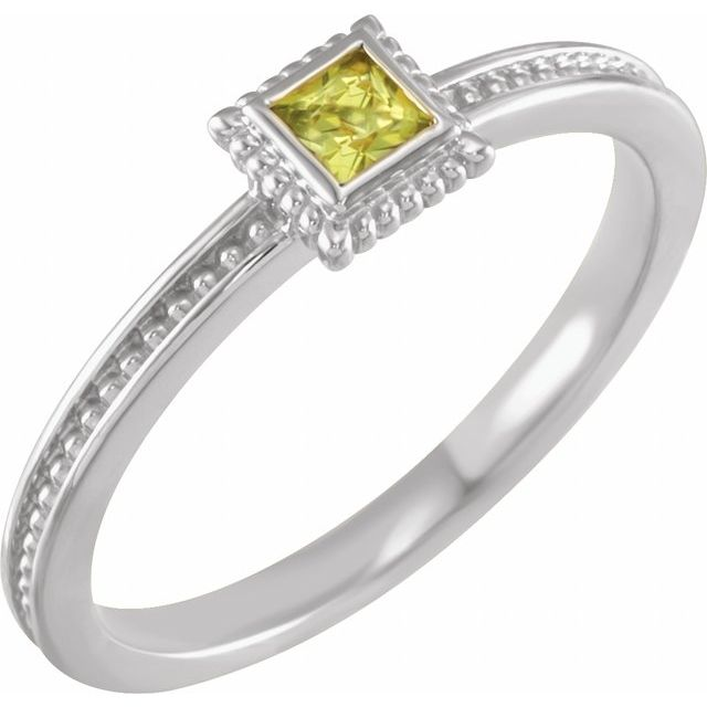 Sterling Silver Peridot Stackable Family Ring
