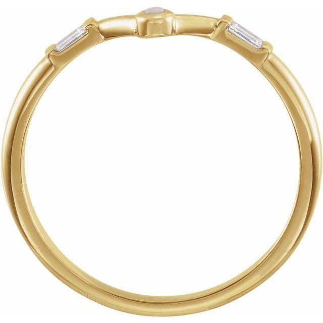 14K Yellow Opal & .08 CTW Diamond V Ring