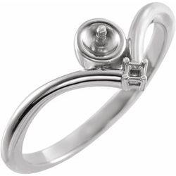 6526 / Neosadený / striebro / Perlová / 5 Mm / Vyleštený / Pearl Ring Mounting