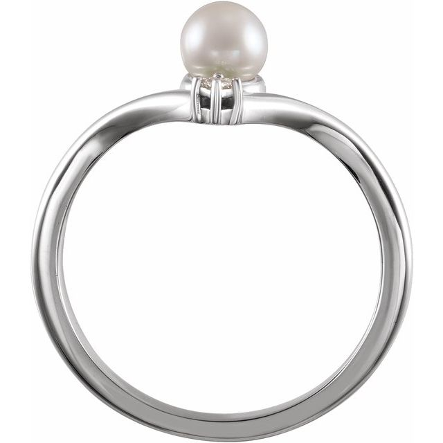 14K White Akoya Cultured Pearl & .025 CTW Diamond Ring