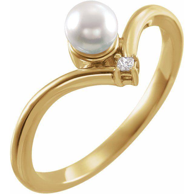14K Yellow Akoya Cultured Pearl & .025 CTW Diamond Ring