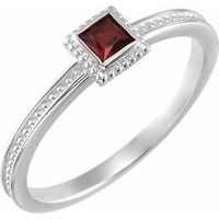 Sterling Silver Mozambique Garnet Stackable Family Ring