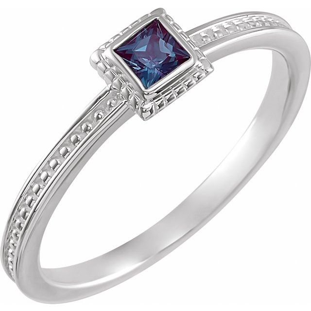 Sterling Silver Lab-Grown Alexandrite Stackable Family Ring