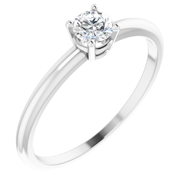 Sterling Silver 3 mm Round Imitation Diamond Birthstone Ring Size 3