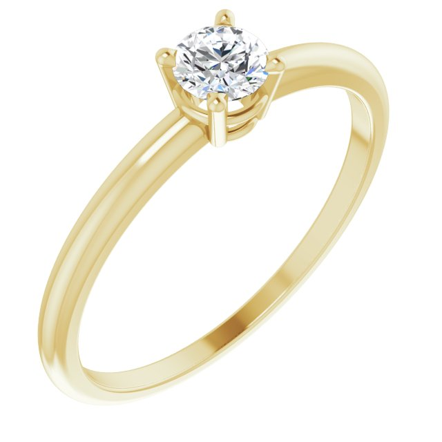 14K Yellow 3 mm Round White Sapphire Birthstone Ring Size 3