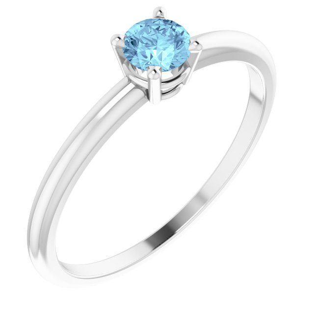 Sterling Silver 3 mm Round Imitation Aquamarine Birthstone Ring Size 3