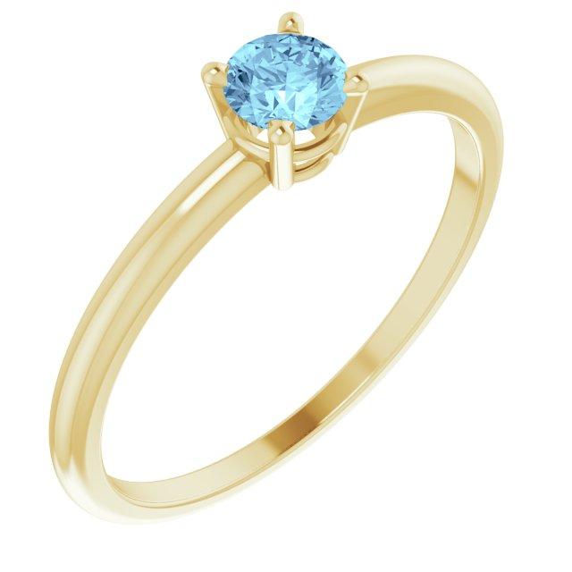 14K Yellow 3 mm Round Aquamarine Birthstone Ring Size 3