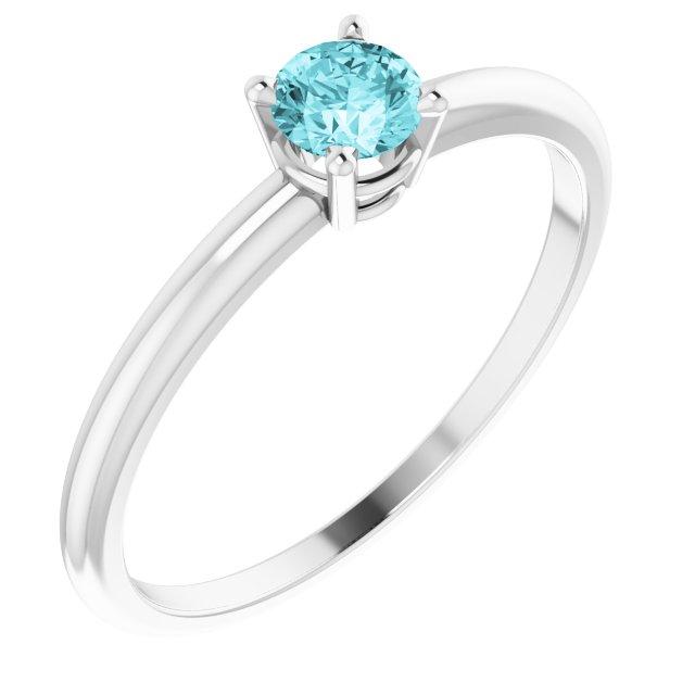 Sterling Silver 3 mm Round Imitation Blue Zircon Birthstone Ring Size 3
