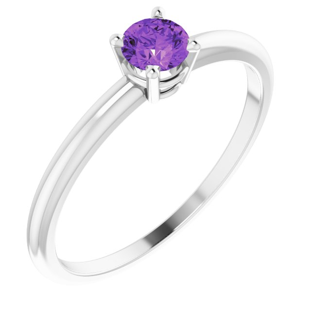 Sterling Silver 3 mm Round Natural Imitation Amethyst Ring Size 3 mm