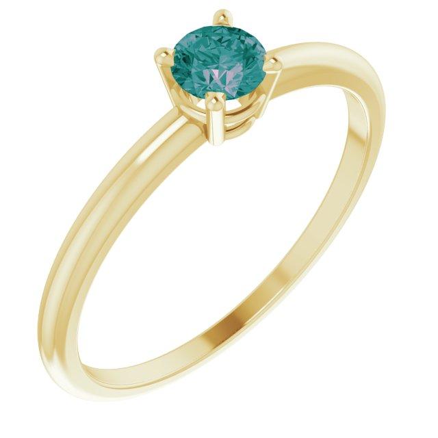 14K Yellow 3 mm Round Alexandrite Birthstone Ring Size 3